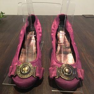 Burberry Satin Round Ballerina Ballet Flat Purple